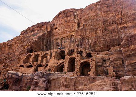 Petra, Jordan - April 11, 2014: A View Of Royal Tombs (urn Tomb, Corinthian Tomb) In Petra.