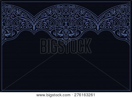 Calligraphic Islam Ornament Frame Lines. Restaurant Menu. Luxury Vintage Ornate Greeting Card With T