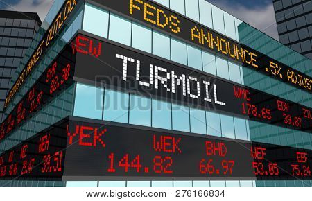 Turmoil Volatility Stock Market Ticker Words 3d Illustration