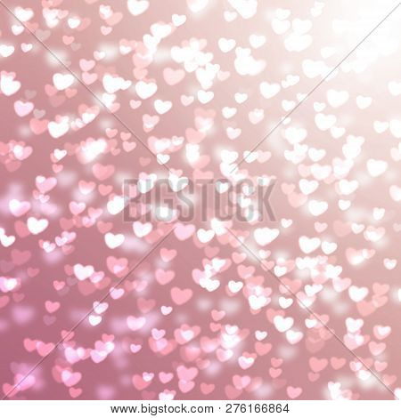 Pink Blurred Background With Hearts For Valentine's Day, Glitter, Holiday, Romance, Gradient
