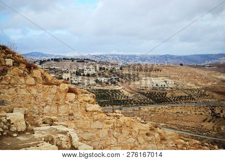 Herodium Herodion, Fortress Of Herod The Great, View Of Palestinian Territory, Westbank, Palestine,