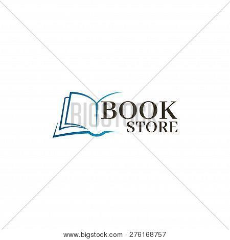 Bookstore Logo Template. Design Logo Open Book.