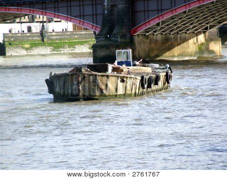 Deserted Barge On Thames