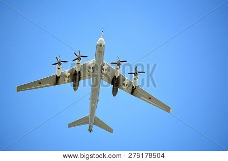 Moscow, Russia - May, 2018: Turboprop Strategic Missile-carrier Bomber, Aircraft Carrier Cruise Miss