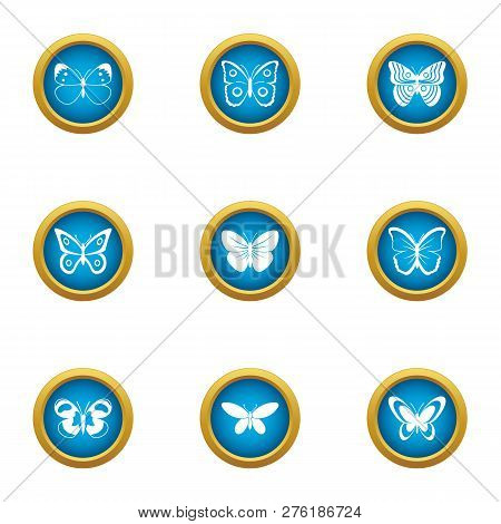 Night Insect Icons Set. Flat Set Of 9 Night Insect Icons For Web Isolated On White Background
