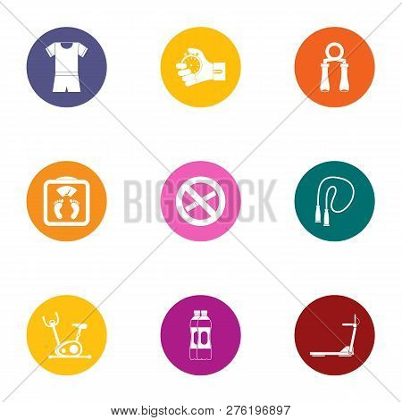 Physical Culture Icons Set. Flat Set Of 9 Physical Culture Icons For Web Isolated On White Backgroun