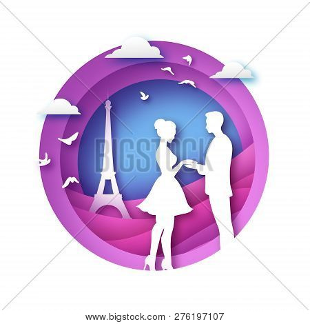 White Silhouette Of Romantic Lovers With Eiffel Tower In Paris Paper Cut Style. Love. Origami Couple