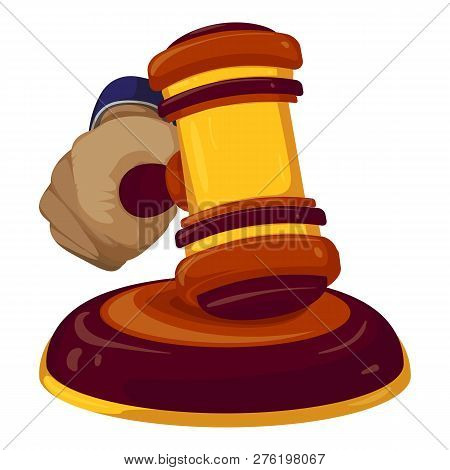 Gavel Judge Decision Icon. Cartoon Of Gavel Judge Decision Icon For Web Design Isolated On White Bac