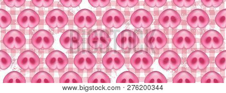 Pattern of Pigs noses. Cute Pigs Snout on hand drawn spots backdrop. Greeting icon of Chinese 2019 New Year. poster