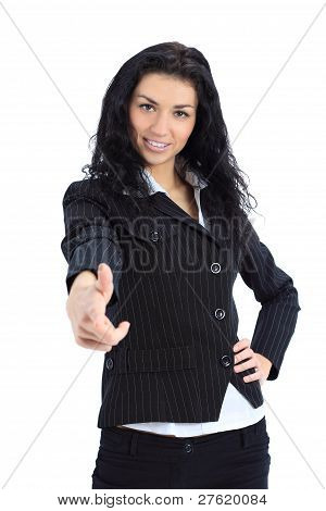 Young business woman point finger at you looking at camera. Isolated on white background