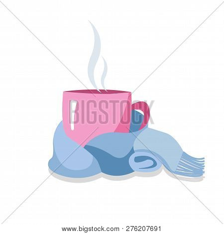 Pink Teacup Tied With A Blue Scarf Isolated On White. Warm And Cozy Winter. A Cup In A Scarf. Mug, W