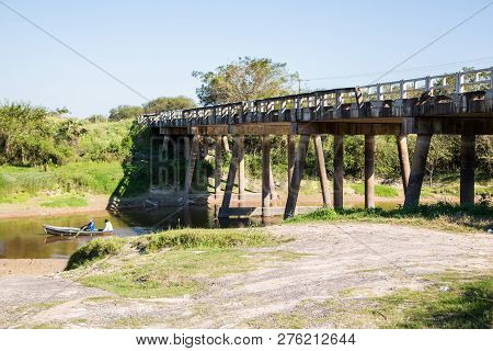 National Route 9 Highway Runs Over A River Bridge In Paraguayan Gran Chaco Savannah, Paraguay. Ruta