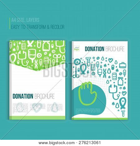 Medical Brochure Template. Vector Hospital Banner Abstract Grunge Geometric Background. Vector Hospi