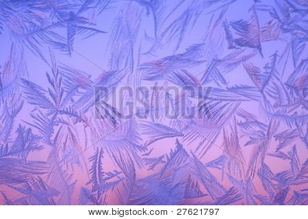 Beautiful color frost on window in north sweden