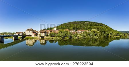 Bridge At Typical Small Village L-isle-sur-le-doubs In France In The Doubs Valley. The History Of Th