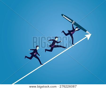 Businessman Drawing Path Direction Of Success
