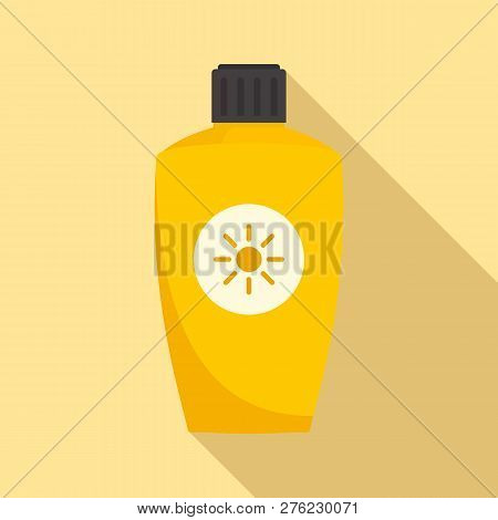 Uva Sunscreen Bottle Icon. Flat Illustration Of Uva Sunscreen Bottle Vector Icon For Web Design