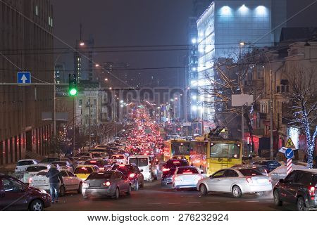 Traffic Jam In The Night City. Traffic Jam Is Seen On The Second Ring Road In City Downtown. City Tr