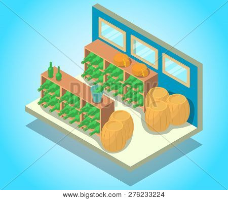 Wine Cellar Concept Banner. Isometric Banner Of Wine Cellar Vector Concept For Web, Giftcard And Pos