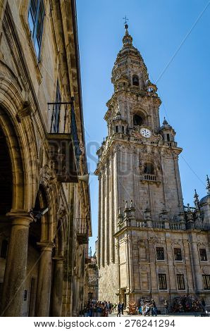 Santiago De Compostela, Spain - April 4, 2015: Pilgrims Of St James Way And Tourists In The Cathedra