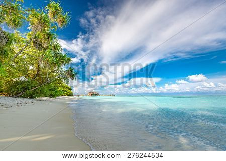 Amazing Tropical Beach. Landscape Of Maldives Island. Blue Sea, Blue Sky, White Sand, Tranquil Exoti