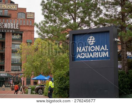 Baltimore, Md September 24, 2018: Entrance To The National Aquarium On The Baltimore Inner Harbor Wi