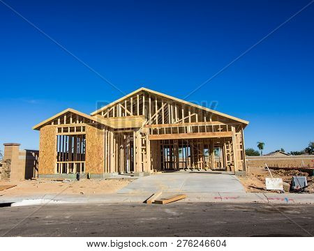 New Home Under Construction In Framing Stage