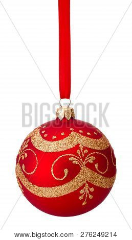Red Christmas Decoration Bauble Hanging On Ribbon Isolated On White Background