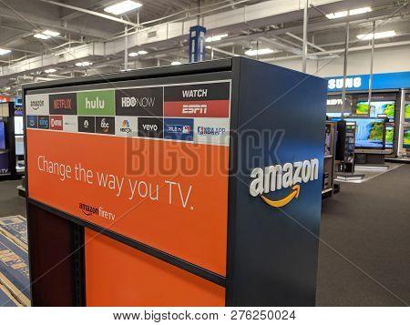 Fox Hills, Culver City, California -  October 25, 2018:    Amazon Fire Tv And App Logos Netflix, Hul
