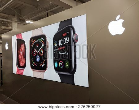 Fox Hills, Culver City, California -  October 25, 2018:    Apple Watch Ad On Wall Featuring Apple Lo