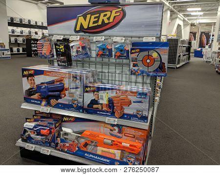 Fox Hills, Culver City, California -  October 25, 2018:  Nerf Toys Display Display At Best Buy.  Ner