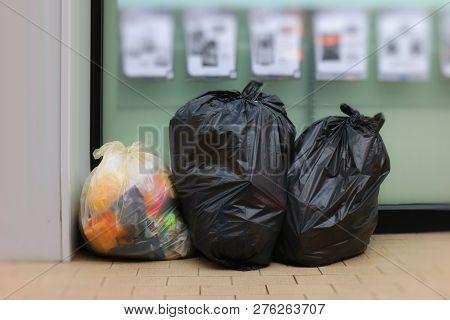 Three Trash Bags, Garbage Bag Black Placed Front Convenience Store, Bin, Trash, Trash Bag, Trash On