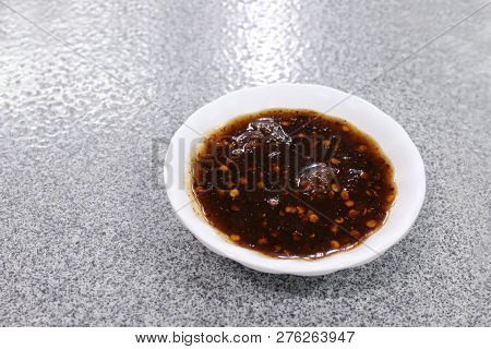 Sauce, Asia Thai Sauce Dipping In A Cup Small Savory, Chilli Sauce In A Cup With Spicy Food