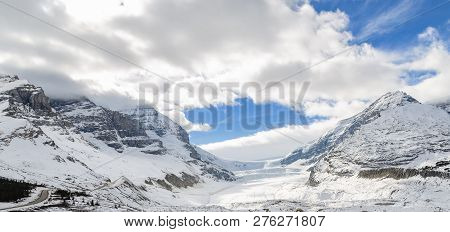 Landscape View Of Columbia Icefield And Athabasca Glacier In Jasper National Park In Alberta, Canada