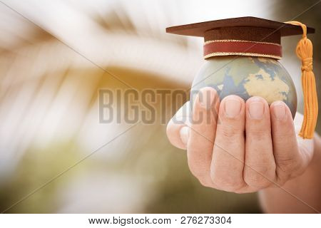 Graduate Or Education Knowledge Learning Study International Abroad Concept : Graduation Cap On Open