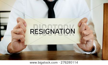 man stressing with resignation letter for quit a job. poster