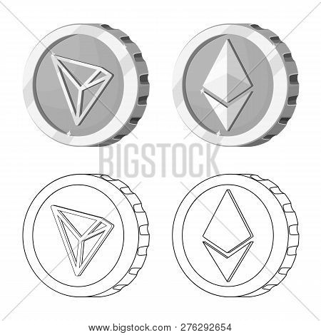 Vector Illustration Of Cryptocurrency And Coin Logo. Set Of Cryptocurrency And Crypto Vector Icon Fo