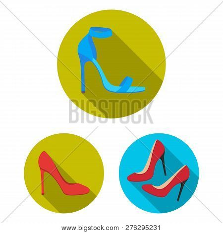 Vector Illustration Of Heel And High Sign. Set Of Heel And Stiletto Stock Vector Illustration.