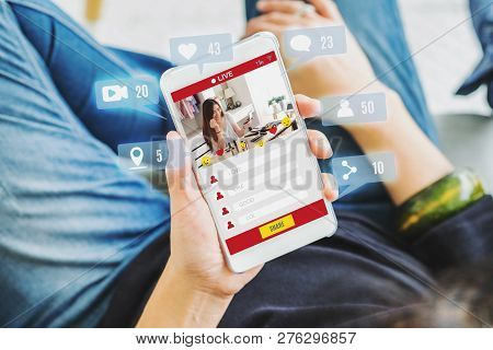 Top View Of Woman View Of Beauty Blogger Review Online With Mobile Apps At Home,online Influencer Te