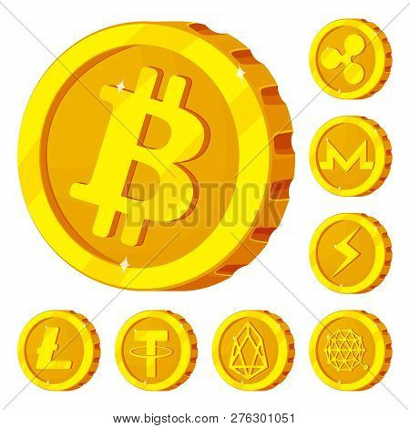Vector Design Of Cryptocurrency And Coin Symbol. Set Of Cryptocurrency And Crypto Vector Icon For St