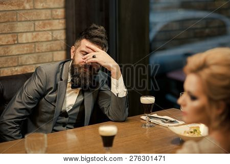 Couple With Misunderstanding At Restaurant. Valentines Day With Woman And Man. Dislike Makes Conflic