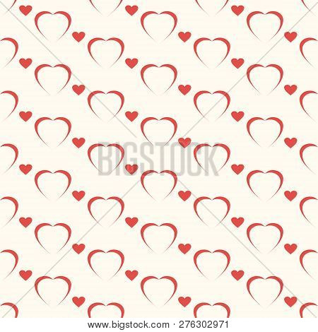 Seamless Geometric Pattern, Red Hart On White Background, Stripes Abstract Template, Vector Illustra