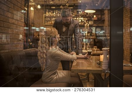 Valentines Day With Sexy Woman And Bearded Man. Business Meeting Of Man And Woman. Meet, Proposal An