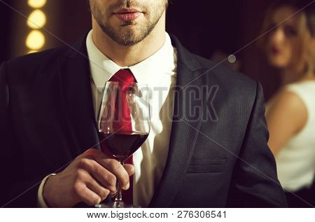 Relax With Glass Of Wine In Hand Of Man, Businessman With Beard And Hairstyle In Formal Outfit With