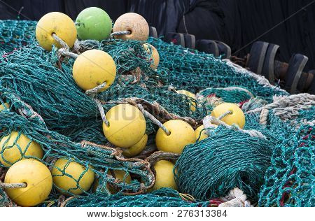 Image Shows Background Of Colorful Fishing Nets And Floats