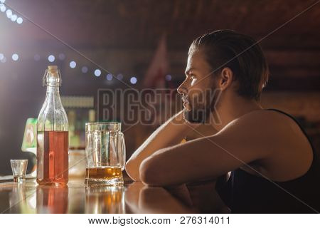 Its Always Better To Drink In Moderation. Man Drinker In Pub. Alcohol Addict With Beer Mug. Handsome