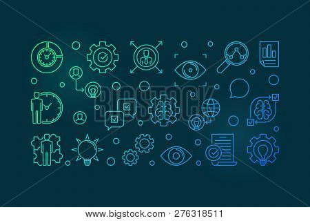 Vision Statement Vector Colorful Horizontal Illustration. Business Vision Concept Outline Banner On
