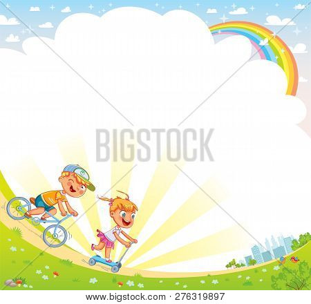 Children Ride Bicycles In A Park Outside The City. Template For Advertising Brochure. Kids Backgroun