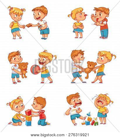 Good And Bad Behavior Of A Child. Brother And Sister Fighting Over A Toys. Best Friends Forever. Fun