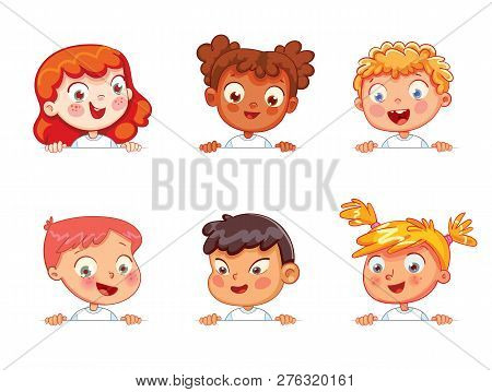 Cartoon Collection Of Little Kids Portraits. Children Of Different Nationalities Are Holding Blank P